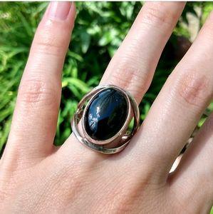 Black onyx silver ring Native American